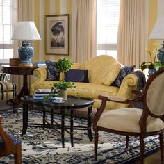 Yellow striped wallpaper is a great classic European style touch to this gorgeous living room