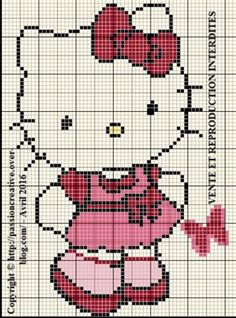 Grille gratuite point de croix : Hello Kitty et papillon rose