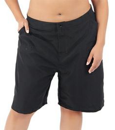 Maxine Plus Size Solid Woven Long Boardshort can add drawstring so waist fits but loose fit, sarong on top for beach wear.