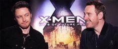 James McAvoy and Michael Fassbender Scottish Actors, British Actors, Marvel X, Marvel Memes, X Man Cast, James Mcavoy Michael Fassbender, What Makes A Man, Charles Xavier, Actor James