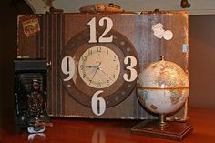 Turn an old suitcase into a clock! What other items could be repurposed into a clock--old tins?
