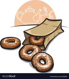 Sweet donuts with powder Royalty Free Vector Image Donut Vector, Cake Vector, Donut Logo, Fruit Sketch, Raisin Cake, Siopao, Kebabs On The Grill, Black Tea Leaves, Coffee Icon