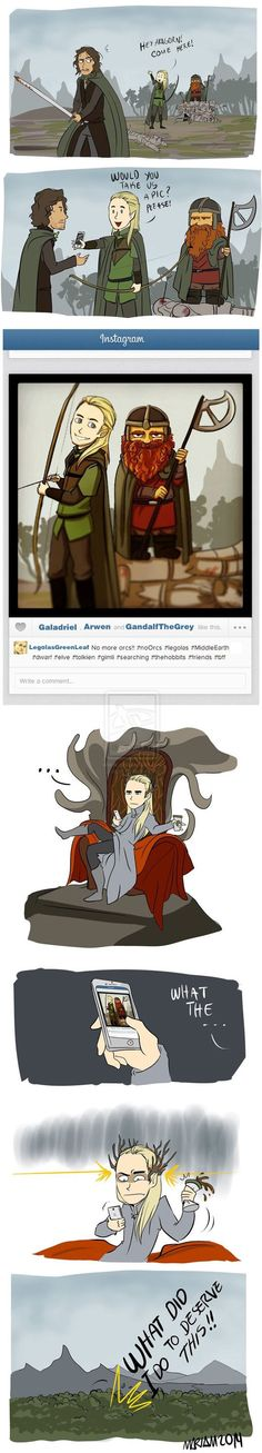 Legolas & Gimli post a pic on Instagram. Thranduil is not amused.