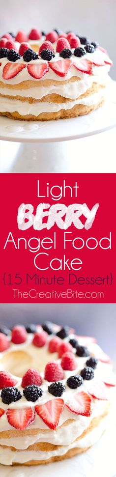 Light Berry Angel Food Cake is an easy and delicious 15 minute dessert with only 5 ingredients. Angel food cake is layered with a luscious white chocolate and coconut Cool Whip layer and topped with fresh berries for a guilt-free low fat treat! #Light #Dessert #Berries