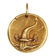 Van Cleef & Arpels Gold Aquarius Zodiac Pendant Charm | From a unique collection of vintage drop necklaces at https://www.1stdibs.com/jewelry/necklaces/drop-necklaces/