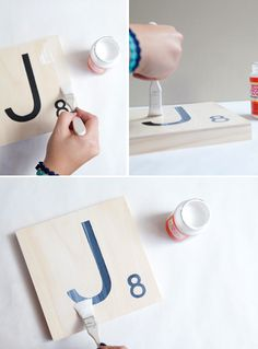 Super easy GIANT SCRABBLE TILE tutorial! I want to make these for baby boy's room (maybe his name?)