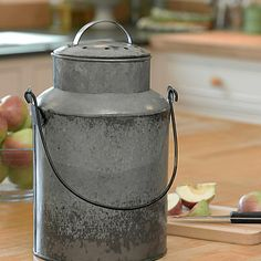 For the farm house styled kitchen. Stainless compost crock.
