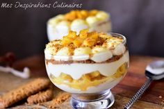 tiramisu pomme cannelle caramelisees Oreo Cheesecake, Flan, I Love Food, Parfait, Mousse, Biscuits, Deserts, Food And Drink, Nutrition