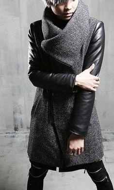 Мужское пальто Fashion косуха с большим воротником серое с кожаными  рукавами выше колен - купить на e9cc203dded