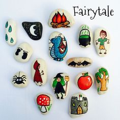 Story stones Fairytale set by LittlebyNature on Etsy Pebble Painting, Pebble Art, Stone Painting, Rock Painting, Stone Crafts, Rock Crafts, Arts And Crafts, Fairy Tale Activities, Story Stones