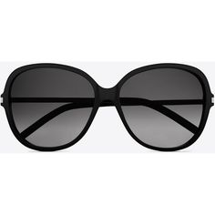 Saint Laurent Classic 23 Sunglasses In Matte Black Acetate With Brown... (485 CAD) ❤ liked on Polyvore featuring accessories, eyewear, sunglasses, glasses, black, rounded sunglasses, matte black glasses, round lens glasses, black round glasses and matte black sunglasses