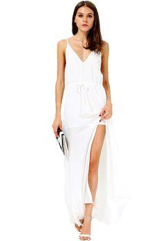 White Spaghetti Strap Drawstring Split Dress