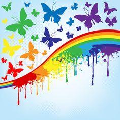 Rainbow and butterfly stock vector Rainbow Magic, Neon Rainbow, Rainbow Brite, Taste The Rainbow, Over The Rainbow, Rainbow Colors, Vibrant Colors, Rainbow Poem, Rainbow Butterfly