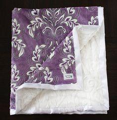 Minky Blanket. soft blanket, purple blanket, mar bella, blanket for girl, purple and grey, purple and white, baby girl, damask blanket, vine
