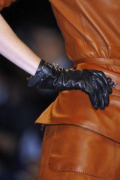 Hermes 2011. Leather glove, jacket and skirt details