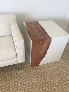 Live Edge Mahogany In White Concrete Table