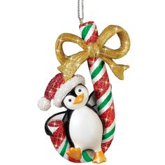 Playful Penguins Christmas Ornaments - Candy Cane