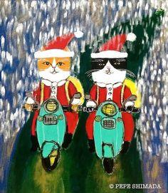 """Scooter Santa Cats"" <=> Acrylic on Canvas Artist Pepe Shimada Copyright © PEPE SHIMADA All Rights Reserved"