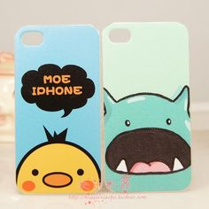 Two packs-mail iphone4 birds and hippos little mobile phone shell color covers protector