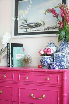 Guest Bedroom Painted Furniture Bamboo Dresser Regency Ginger Jar Beach Print Pink Dresser www. Pink Dresser, Colorful Dresser, Pink Desk, Decoration Inspiration, Colour Inspiration, Interior Decorating, Interior Design, Interior Architecture, Diy Interior
