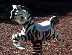 Zebra Spring Rocker by Jenny with a camera, via Flickr Playgrounds, Giraffe, Past, Old Things, Horses, Spring, Fun, Animals, Animales