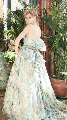 charlotte balbier 2018 bridal strapless sweetheart neckline wrap over bodice romantic colored green a line wedding dress ribbon back chapel train (jayde) bv -- Charlotte Balbier 2018 Wedding Dresses Simple Elegant Wedding Dress, Floral Wedding Gown, Chiffon Wedding Gowns, Wedding Dresses With Flowers, Wedding Dresses 2018, Bohemian Wedding Dresses, Wedding Dress Styles, Designer Wedding Dresses, Bridal Gowns