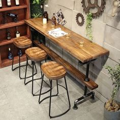 "51"" Retro Rectangular Bar Table Natural Industrial Pub Table Pub Table And Chairs, Wood Bar Table, Bar Chairs, Diy Table, Outdoor Bar Table, Bar Table Behind Couch, Bar Table Design, Pub Tables, Rustic Pub Table"