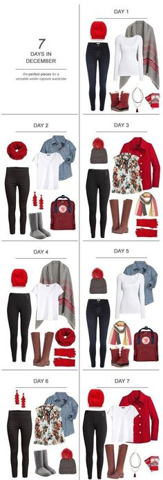 7 Days in December : The Perfect Pieces for a Versatile Winter Capsule Wardrobe Here's some solid and affordable winter capsule wardrobe pieces (and a couple of investments) for a few looks perfect for a stay-at-home mom: Capsule Wardrobe Mom, Capsule Outfits, Fashion Capsule, Mom Wardrobe, Small Wardrobe, Mom Outfits, Cute Outfits, Fashion Outfits, Womens Fashion