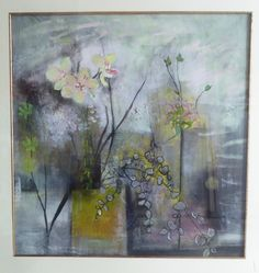 """ Orchids "" , Large painting , Elegantly framed.  Oil and mixed media on paper."