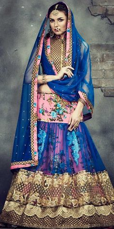 Marvelous Blue Net Lehenga Choli With Dupatta @looksgud  #Blue, #Wedding, #Floral