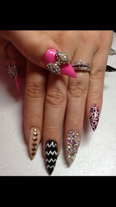 stiletto nails So Cute Sexy Nails, Glam Nails, Dope Nails, Beauty Nails, Trendy Nails, Fabulous Nails, Perfect Nails, Gorgeous Nails, Uñas Fashion