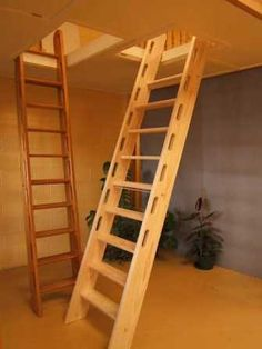 Loft Ladder idea: Shallow treads that are towards the back of stringers, built in handles (love those), and last rise to top is higher than the others.