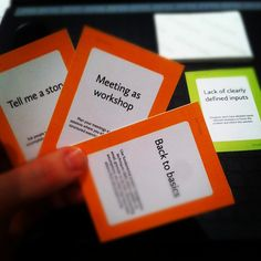Surviving Design Projects is, among other things, a little game to help designers hone their people skills. It's pretty easy. Each player takes turns being the Creative Director. He or she turns over a Situation card, and then tells a little story about the situation shown. She can make it up or draw from her own experience.