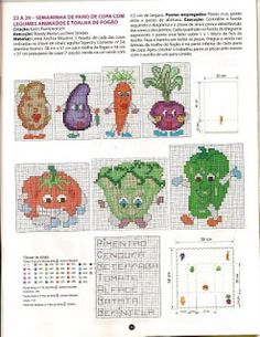 Motivos para panos de prato - Legumes Animados | Ponto Cruz-Cross Stitch-Punto Cruz-十字绣-Punto Croce-Kreuzstitch-Point de Croix-вышивк