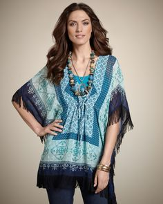 Fringed Poncho, Bohemia-Inspired - Women's Blue Casual Tile Peri Poncho  from Chico's - $99.00