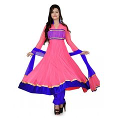 Fashionx pink and blue pure net anarkali unstitched dress material
