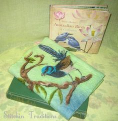I'm so excited! I just received my moleskin journal and journal cover from Anna in Australia (via Etsy). Needle Felted Superb FairyWren Journal Cover by StitchinTraditions