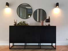 New Living Room, Home And Living, Black Buffet Table, Ikea Sofas, Home Entrance Decor, Home Decor, Happy New Home, Cafe Interior Design, Aesthetic Room Decor
