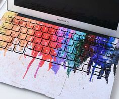 omg so me!! neeeeeeeed... the mac included haha  @aGive your generic laptop a unique appearance by splashing a bit of color on it using this dripping paint MacBook keyboard cover. The cover protects your keyboard from dust, scratches, and general wear and tear while the abstract design creates an artsy feel.