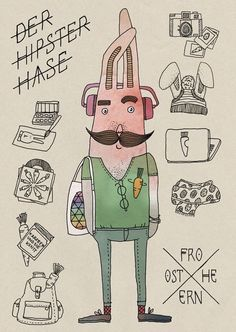 "Postkarte ""Hipsterhase"" // postcard by LarifariLaden via DaWanda.com"