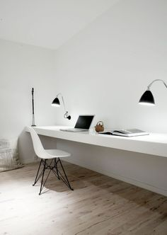 Super minimal space - no distractions. Home office inspiration from Norm Architects. Home Office Home Office Inspiration, Workspace Inspiration, Office Ideas, Office Decor, Office Table, Bedroom Inspiration, Office Furniture, Bedroom Ideas, Desk Inspo