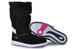 WMNS Nike Sneaker Hoodie Leather Boots Black White