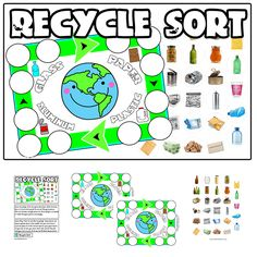 Print Recycle Game Game Play:Time to sort the recycling! Game pieces are placed upside down in the middle. On your turn draw a card and place it in the correct spot on your game board. If your bin is full, you must return the card to the pile and your turn is over. First …