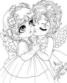 tattoos a lapiz de chicas bonitos | Imagenes de angeles para colorear
