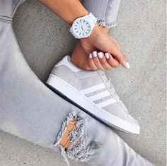 gray adidas shoes- How to style your Adidas shoes http://www.justtrendygirls.com/how-to-style-your-adidas-shoes/