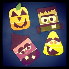 Fun Halloween craft for kids, elementary, paint swatch, candy corn, witch, pumpkin, Frankenstein.