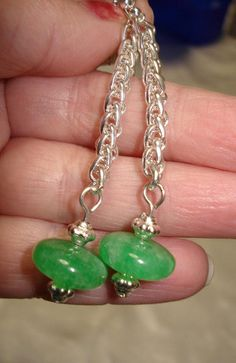 green quartz long earrings by helenshmcreations on Etsy, £8.00