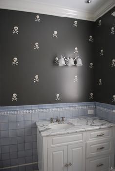 Stenciled Skulls - so cute (the blue tile not so much)