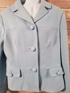 Talbots Womens Size 12 Blazer Lined Baby Blue Career Wear Tweed Professional  #Talbots #Blazer