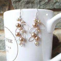 Pearl Leaf Dangle Earrings - Silver Drop Earrings, Wedding Jewelry, Bridesmaid, Bride, Bronze Champagne Pearl, Leaf Pendant, Personalized via Etsy
